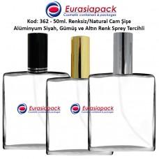 Alüminyum Spreyli Cam Parfüm Şişesi Kod: 362 - 50ml.