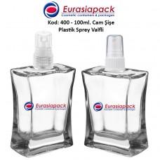 Plastik Spreyli Cam Parfüm Şişesi Kod: 400 - 100ml.
