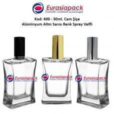 Alüminyum Spreyli Köşeli Cam Parfüm Şişesi Kod: 400 - 30ml.