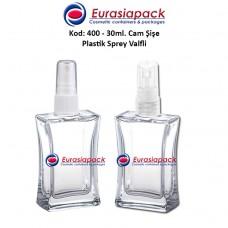 Plastik Spreyli Cam Parfüm Şişesi Kod: 400 - 30ml.