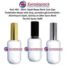 Alüminyum Spreyli Porselen Görünümlü Opak Beyaz Cam Parfüm Şişesi Kod 401 - 30ml.