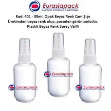 Plastik Spreyli Porselen Görünümlü Opak Beyaz Cam Parfüm Şişesi Kod: 401 - 30ml.