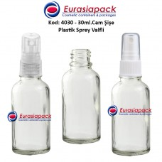Plastik Spreyli Cam Parfüm Şişesi Kod: 4030 - 30ml.