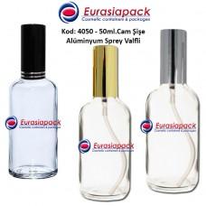 Alüminyum Spreyli Cam Parfüm Şişesi Kod: 4050 - 50ml.