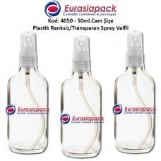 Plastik Spreyli Cam Parfüm Şişesi Kod: 4050 - 50ml.