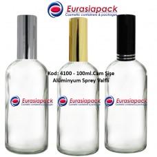 Alüminyum Spreyli Cam Parfüm Şişesi Kod: 4100 - 100ml.