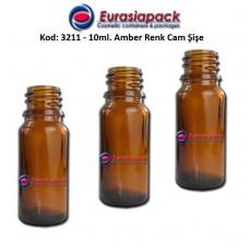 Cam İlaç - Ecza Şişesi 10ml. Amber/Kahverengi Kod 3211