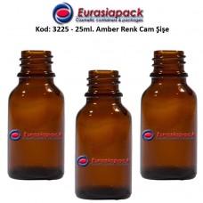 Cam İlaç - Ecza Şişesi 25ml. Amber/Kahverengi Kod 3225