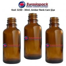Cam İlaç - Ecza Şişesi 30ml. Amber/Kahverengi Kod 3230