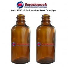 Cam İlaç - Ecza Şişesi 50ml. Amber/Kahverengi Kod 3050