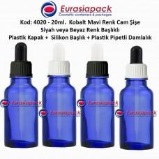 Plastik Pipetli Damlalıklı Kobalt Mavi Cam Şişe 20ml - Kod 4020