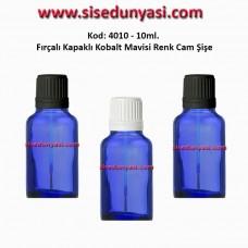 Fırçalı Kapaklı Cam Şişe 10ml Kobalt Mavi Kod 4010