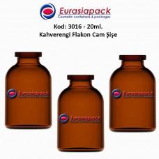 Flakon Cam Şişe Amber Renk 20/25 ml. Kod: 3016