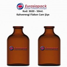 Flakon Cam Şişe Amber Renk 50 ml. Kod: 3020