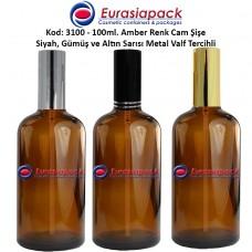 Sprey Valfli İlaç Şişesi 100ml Alüminyum Valfli Amber Şişe 3100