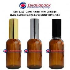 Sprey Valfli İlaç Şişesi 20ml Alüminyum Valfli Amber Şişe 3219