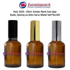 Sprey Valfli İlaç Şişesi 25ml Alüminyum Valfli Amber Şişe 3225