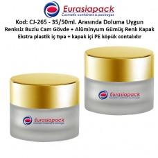 Krem Kavanozu Buzlu Cam Gövde Altın Rengi Kapaklı 35/50 gr CJ-265