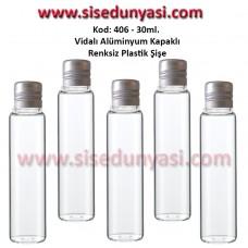 Alüminyum Kapaklı Plastik Şişe 25/30ml Kod 406