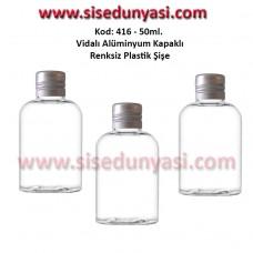 Alüminyum Kapaklı Plastik Şişe 50ml Kod 416