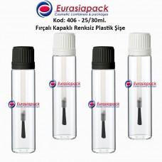 Fırçalı Kapaklı Plastik Şişe Kod: 406 25/30ml.