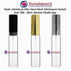 Sprey Valfli Plastik Şişe 25/30ml Alüminyum Spreyli Kod 406